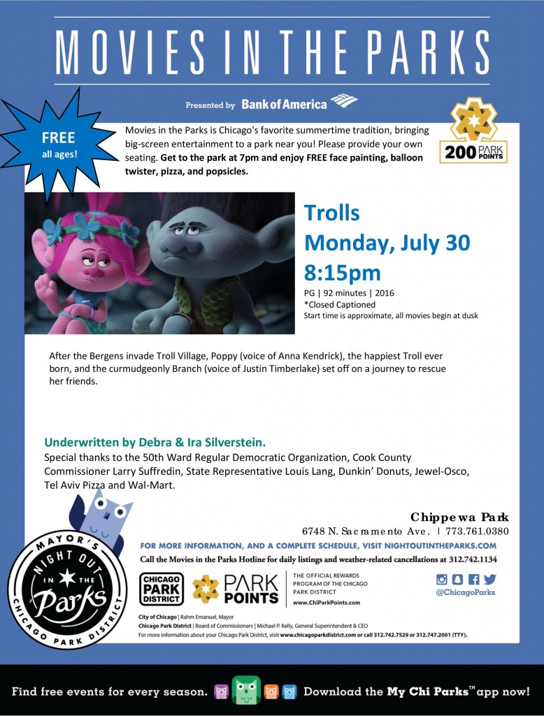 Movie in the Park Flyer 2018